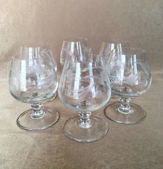 Brandy Snifters Etched Snifter Hand Blown Glass by DotnBettys