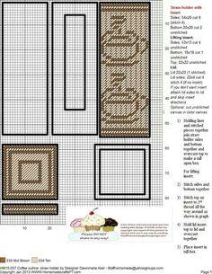 Coffee straw holder Plastic Canvas Stitches, Plastic Canvas Coasters, Plastic Canvas Crafts, Plastic Canvas Patterns, Paper Plate Holders, Paper Plates, Tissue Box Covers, Tissue Boxes, Straw Holder