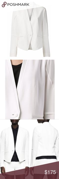 rag & bone White Leather Trim Darted Pascal Blazer Brand new with tags, women's size 8. Does not have the rag & bone price tags attached but the Intermix price tag is still attached. Retails for $550! This rag & bone White Leather Trim Darted Pascal Blazer is so beautiful! Has luxurious textured white lamb leather on the neckline, lapel and on the front pockets. Single button closure. This classic piece will never go out of style and will be a staple in your wardrobe. Fabric: 69% Triacetate…