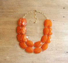 Burnt Orange Double Strand Layered Statement Necklace - Chunky Orange Bib Necklace