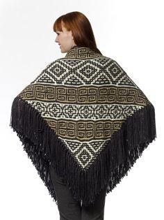 Caron Yarn Aztec Triangle Shawl. Intermediate difficulty rating...free knit pattern...