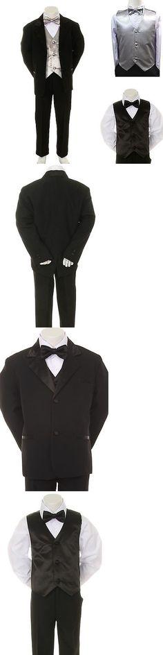 Free R Blue Tie 6PC 2T-4T New Boy Toddler Kid Formal Wedding Tuxedo Suit Vest