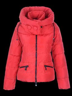 Womens Moncler Red Quilted Zip Coats - i call this a PUFFY jacket:)