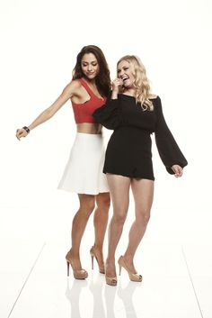 THE 100 stars Lindsey Morgan (right) and Eliza Taylor get down in the Warner Bros. Television Photo Studio at WBTV's Comic-Con cocktail media mixer at the Hard Rock Hotel's FLOAT Rooftop Bar on Friday, July 25. #WBSDCC
