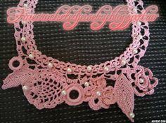 Pink pearl crochet necklace http://www.finecrochetedjewelry.blogspot.ro/