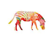 Zebra Animal Art Print Number One animal illustration zebra illustration (18.00 USD) by ParimaCreativeStudio