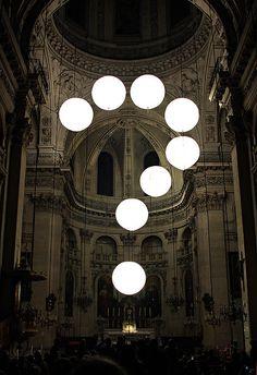 La nuit blanche – not retouched  St. Paul church, Paris/France.  Installation by Robert Stadler for «La nuit blanche» festival. #robertstadler #istallazioni #grafica #design