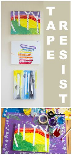 A tutorial for tape resist paintings, plus fun ideas for variations on this simple kids' art activity.
