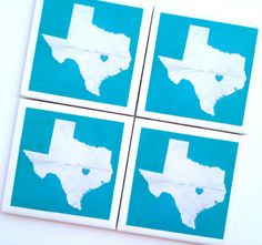 Austin Texas Love Coasters Drink Coaster TX State by QueenOfDeTile, $25.00 #swsx #austin #texas