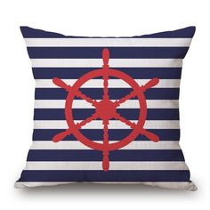 Sailor Inspired Design Decorative Pillow Case Cover 43cm x 43cm - Cove Cotton