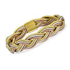Italian Flex Tri-Color Braided Bangle Bracelet