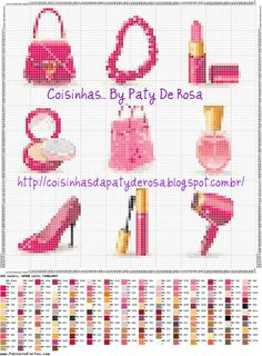 0 point de croix accessoires de beauté - cross stitch beauty accessories Tiny Cross Stitch, Cross Stitch Designs, Cross Stitch Patterns, Cross Stitching, Cross Stitch Embroidery, Minis, Stitches Makeup, Stitches Wow, Fabric Manipulation