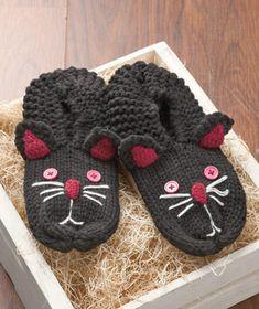 Women's Cable-Knit Animal Slipper Socks