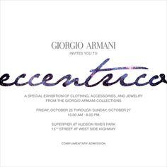Giorgio Armani invitation, Eccentrico