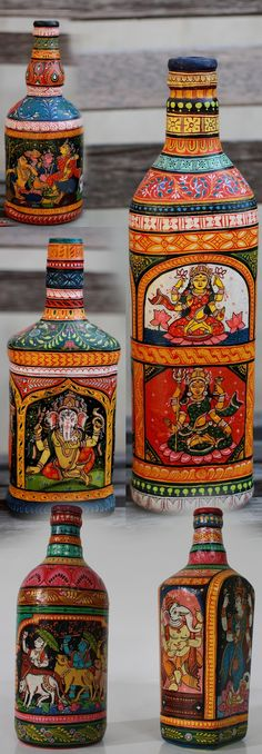 Decoupage på flasker er kanskje noko eg kan leike meg med ein dag. Madhubani Art, Madhubani Painting, Bottle Painting, Bottle Art, Glass Bottle, Painting Art, Altered Bottles, Wine Bottle Crafts, Bottles And Jars