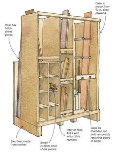 1000 images about lumber storage solutions on pinterest for Vertical lumber storage rack