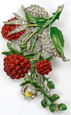 Trifari 'Alfred Philippe' Pave and Enamel Raspberries Pin Clip