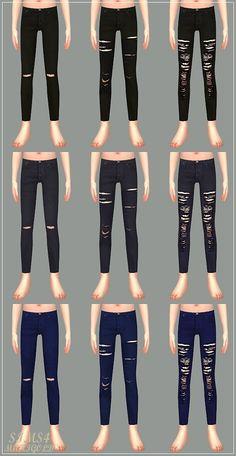 Child_Ripped Jeans & Leggings_unisex_찢어진 청바지와 레깅스_어린이 남녀 공용 의상 - SIMS4 marigold