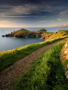 Any hike in Cornwall! Footpath Along the Rumps, Pentire Point, Near Polzeath, Cornwall, UK by Ross Hoddinott Devon And Cornwall, Cornwall England, North Cornwall, Dorset England, Oxford England, Yorkshire England, Yorkshire Dales, North Wales, London England