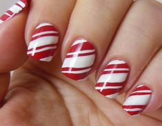 Christmas candy cane nail art  #nailart #nails #manicure