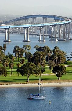 Nice view of the Coronado Bridge between San Diego mainland and the coast.