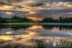 Sunset over the lake with nice reflection from the water (5 photo HDR) - Jyväskylä