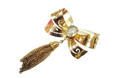 Gold Bow Brooch  Signed Coro  Rhinestone  Golden tassel