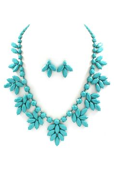 Marquise Lidia Necklace Set in Turquoise on Turquoise
