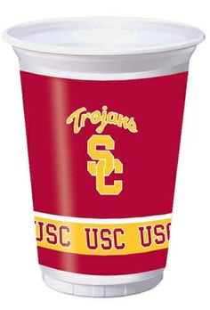 Creative Converting USC Trojans Printed 20 Oz. Plastic Cups (8 Count) by Creative Converting. $6.99. 8 count. The perfect supplies for your tailgating, Bowl game or sports themed party - show your team spirit and pride. See Creative Converting's coordinating line of party favors and dinnerware - inflatable fingers, wrist bands, head bands, pom poms, cheer sticks, cups, plates, napkins, chip trays and décor. Holds 20 ounces. Collegiate NCAA team logo printed plastic cups....