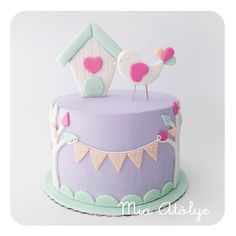 Lavender, Pink & Mint Birds and Bunting Cake Fondant Cakes, Cupcake Cakes, Fete Emma, Girly Cakes, Just Cakes, First Birthday Cakes, Novelty Cakes, Cake Creations, Celebration Cakes