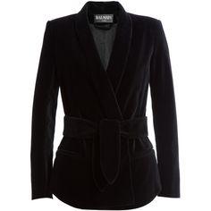 Balmain - Velvet Blazer ($1,980) ❤ liked on Polyvore featuring outerwear, jackets, blazers, shiny jacket, balmain, velvet blazer, slim blazer and black jacket