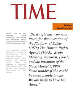 Excerpt from the Time magazine article September 2003, about the Nobel prize winning inventions of Dr. Marie Kimberley Knight md.