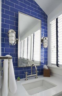 blue subway tile | Lynn Morgan Design