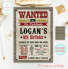 Cowboy Birthday Invitation, Western Invitation, Wild West Invitation, Country Party Invite, Digital File, Printable Western Invitation