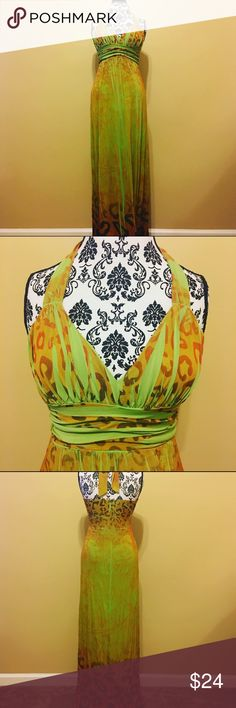"""Lemon Lime"" Halter Sundress by Snap ""Lemon Lime"" Halter Top Sundress by Snap ~ Floor-Length ~ Maxi Snap Dresses Maxi"
