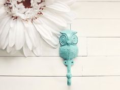 Christmas / White Christmas Decor / Iron Owl Hook by WillowsGrace