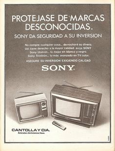 Sony. Anuncio de 1979 Vintage India, Vintage Tv, Television Set, Video Home, We Remember, Vintage Advertisements, Chile, How To Memorize Things, Advertising