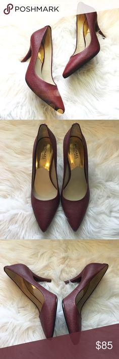 Michael Kors Burgundy Pumps So gorgeous and perfect dressed up or down! Definitely a wardrobe staple. In very excellent condition, no signs of wear! No trades!! 061016100gwf MICHAEL Michael Kors Shoes Heels