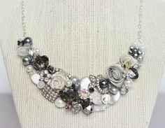 Gray Silver and Ivory Statement Necklace Bridal Bib by BrassBoheme, $78.00