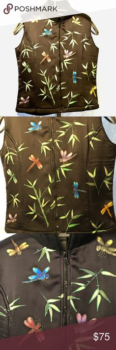 Silk Zip Up Vest with Hand Painted Dragonflies Beautifully hand painted silk zip up vest. Inside and back are fleece. Back is solid black. Handmade in Juneau Alaska Invisible World Jackets & Coats Vests