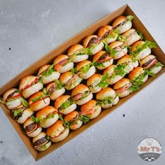Classic Slider Sandwiches Collection - 32 Slider Buns/Box - Mr T's Bakery Sandwich Catering, Sandwich Buffet, Sandwich Platter, Sandwich Box, Mini Sandwiches, Mini Baguette, Baguette Sandwich, Tea Snacks, Slider Buns