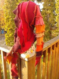 Upcycled Sweater Scoodie Red and Orange by CindyliciousClothing