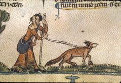 Pilgrim and dog. ---- Royal 10 E IV f.110 [Calendarium, Decretals of Gregory IX with glossa ordinaria (the Smithfield Decretals) -  - Last quarter of the 13th century or 1st quarter of the 14th century]