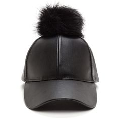 Up The Fluff Faux Leather Hat BLACKBLACK ($17) ❤ liked on Polyvore featuring accessories, hats, black, faux leather hat, ball cap hats, brimmed hat, curved brim hats and ball caps