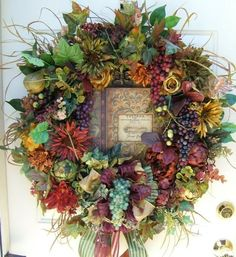 Large Tuscan Summer Fall anytime floral by WreathsbyKimberly: