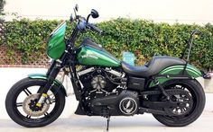 Harley Davidson Super Glide, Super Glide Sport, Super Glide Custom, FXR Super Glide, Dyna Glide Convertible, Super Glide T-Sport, Dyna Glide Police, Dyna Switchback, Low Rider, Street Bob, Fat Bob and Wide Glide Thug style MC style SOA style Sons of anarchy style outlaw style GREEN #harleydavidsondynawide #harleydavidsonpolice #harleydavidsondynasuperglide