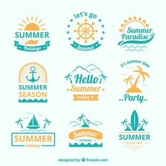 Blue and yellow summer logo collection Free Vector Summer Logo, Beach Logo, Beach Illustration, Summer Poster, Summer Paradise, Tropical Background, Vintage Typography, Vintage Logos, Retro Logos