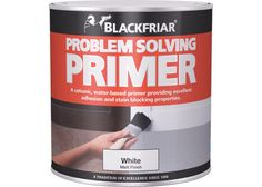 Blackfriar Problem Solving Primer. This multi-purpose problem solving primer is formulated to cover a whole range of surfaces and surface problems. It seals difficult stains caused by water or mould and provides excellent adhesion to a range of surfaces. Covers most stains including nicotine, water, adhesive residues, soot, and wood tannins. Works on ceramic tiles, most plastics, MDF, and wood. For use under most finishes including emulsion, gloss, and lightweight wallpapers.