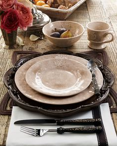 """#ONLYATNM Only Here. Only Ours. Exclusively for You. Handcrafted in Italy of glazed clay. 16-piece service includes four each of dinner and salad plates, cereal bowls, and mugs. Dinner plate, 11.5""""Dia"""