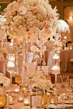 Photographer: True Photography; Luxury white ballroom wedding reception centerpiece;
